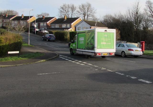 Asda home deliveries van passing a Malpas junction, Newport
