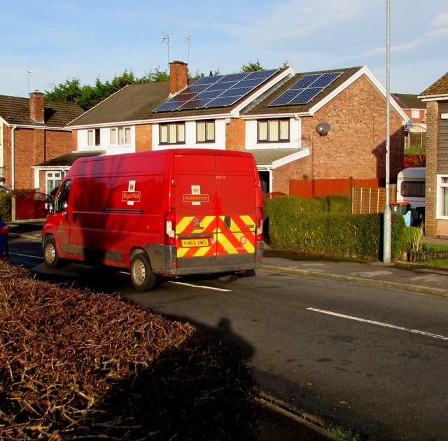 Large Royal Mail van, Larch Grove, Malpas, Newport