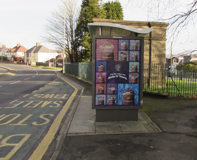 Cadbury Hot Chocolate advert on a Malpas Road bus shelter, Newport