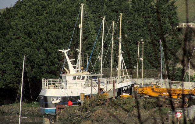 Trawler in boatyard, Wadebridge