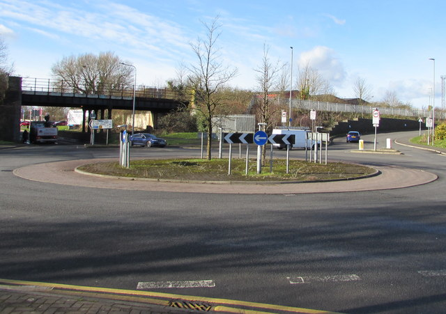 Roundabout in the middle of Docks Way, Newport
