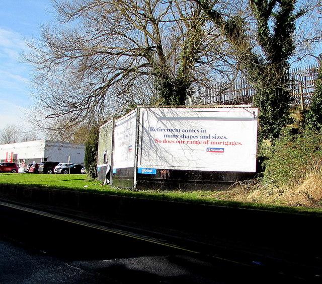Nationwide Building Society advert above Docks Way, Newport