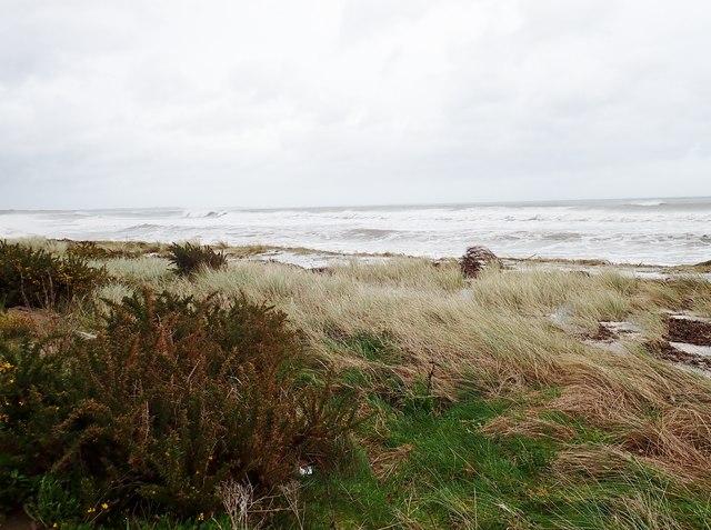 Waves invading raised beach on Newcastle's North Promenade