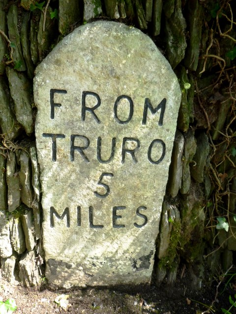 Old Milestone by the B3289 in Trelissick