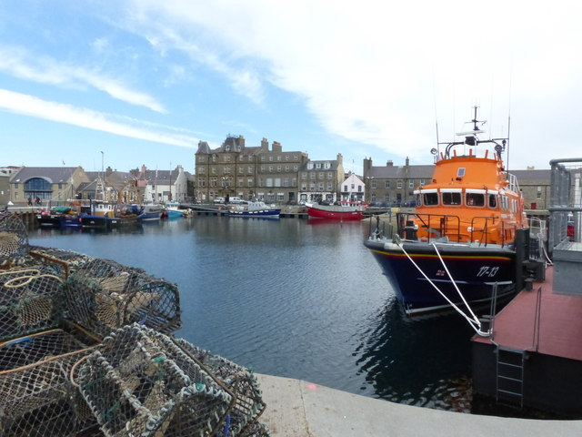 Kirkwall harbour, with lifeboat
