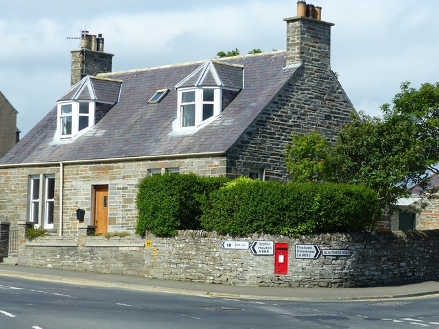Road junction with letter box, Kirkwall, Orkney