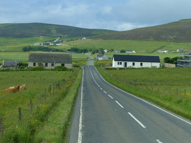 Houses and fields in Orphir Orkney