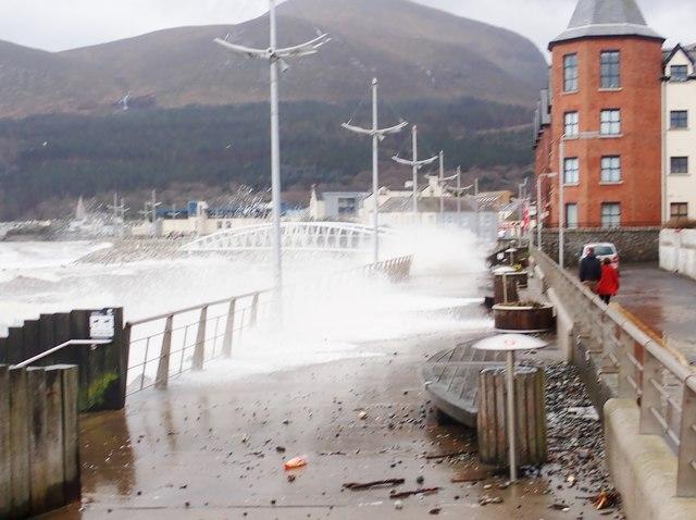 Crashing waves on the north side of the Shimna Estuary