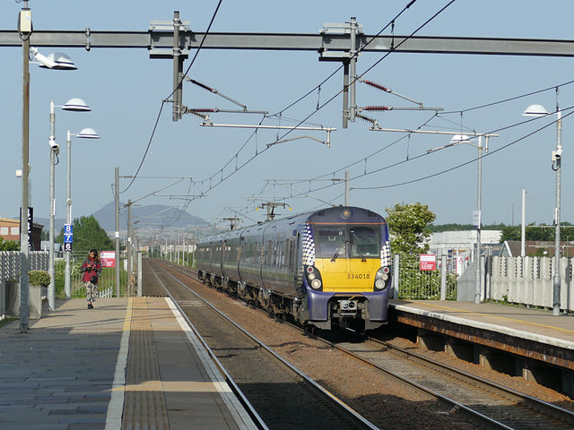 Train entering Edinburgh Park station