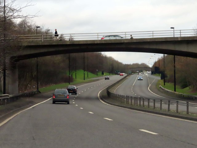 The A167 runs under a road bridge
