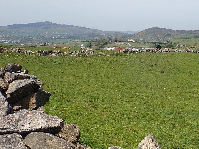 View across the village of Killeen towards Slieve Gullion and Fathom Mountain