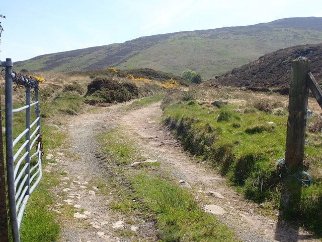 Private lane leading to an abandoned homestead at the foot of Anglesey Mountain