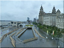SJ3390 : View from inside the Museum of Liverpool, looking towards the Liver Building by Ruth Sharville