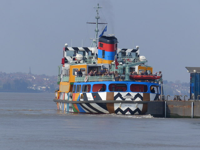 """The Mersey ferry """"Snowdrop"""" pulling away from the landing stage"""