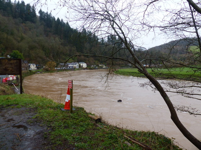 The very swollen River Wye at Tintern