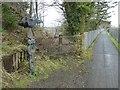 SX5692 : Sustrans waymarker on Granite Way passing Meldon quarry by David Smith