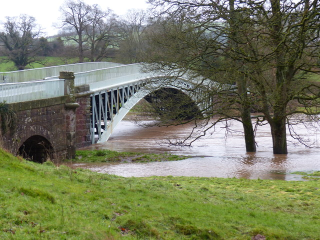 Bigsweir Bridge, with the River Wye in spate