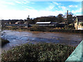 SE2535 : River Aire at Kirkstall Bridge after wet weather by Stephen Craven