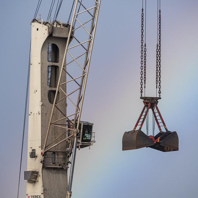 Crane and rainbow, Belfast