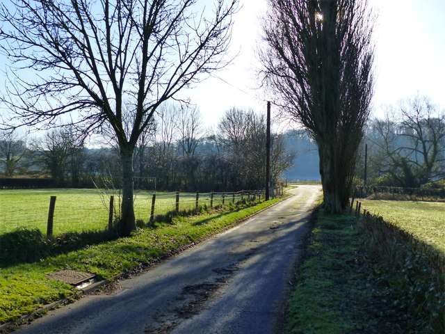 The road to Trewen, off the A48 from Chepstow to Newport