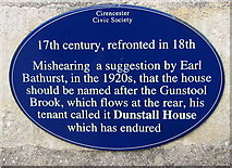SP0202 : Dunstall House blue plaque, Park Street, Cirencester by Jaggery