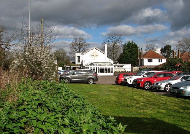 View across the car park of the Oak Tree public house