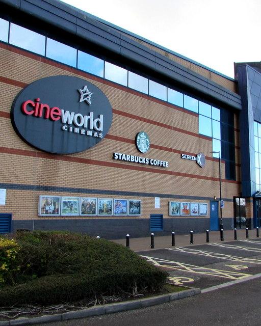 Cineworld Cinemas and Starbucks Coffee name signs, Newport