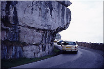 SH7783 : Gt Ormes Head - Marine Drive (overhanging rock) by Colin Park