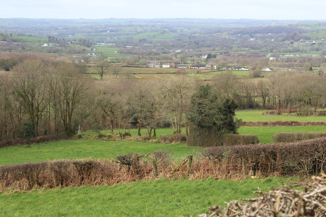 Towards Parc-y-Rhos from lay-by, A482