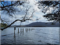 NY2521 : Submerged landing stage at Hawse End by Trevor Littlewood