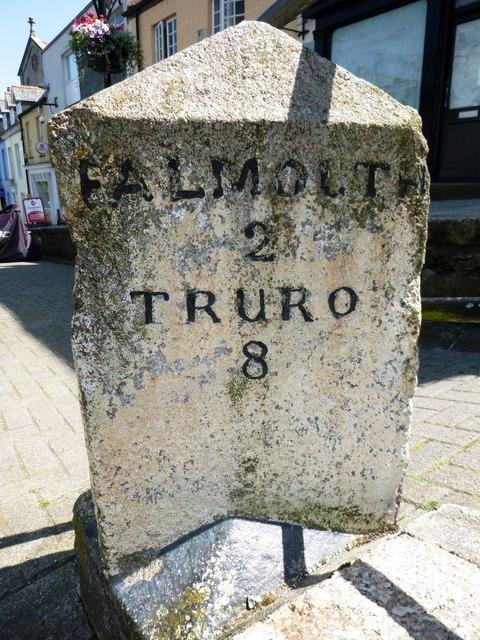 Old Milestone in Lower Market Street, Penryn