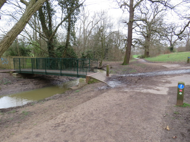 Path and bridge in Hilly Fields Park, near Enfield