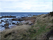 NJ1570 : A small promontory by Clashach Cove by John Lucas