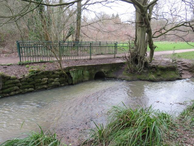 Bridge over a drain in Hilly Fields Park, near Enfield