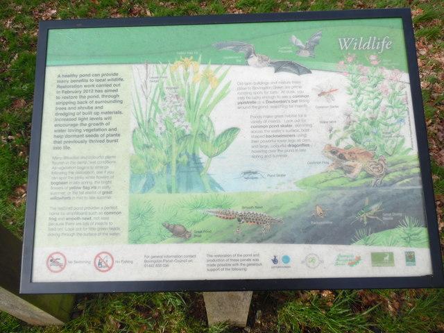 Wildlife Information Board at Bovingdon Green