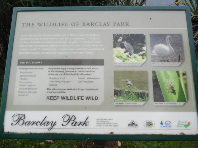 The Wildlife of Barclay Park Information Board