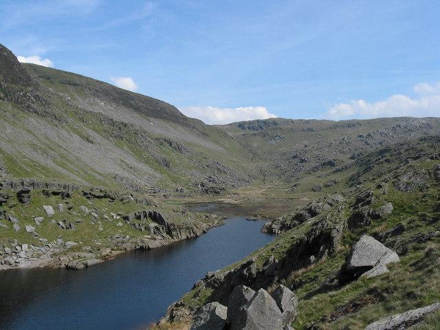 The partly drained Llyn Cwm y Foel reservoir
