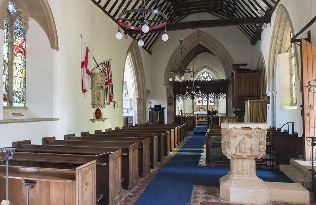 Interior, St Thomas à Becket church, Greatford