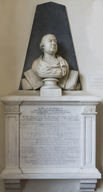 Monument to Francis Willis, St Thomas à Becket church, Greatford