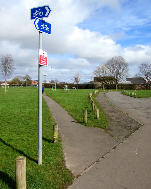 Cycle route direction signs in King George's Field, Caldicot