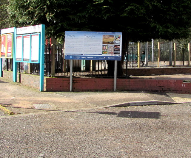 Information boards at the entrance to Treorchy railway station