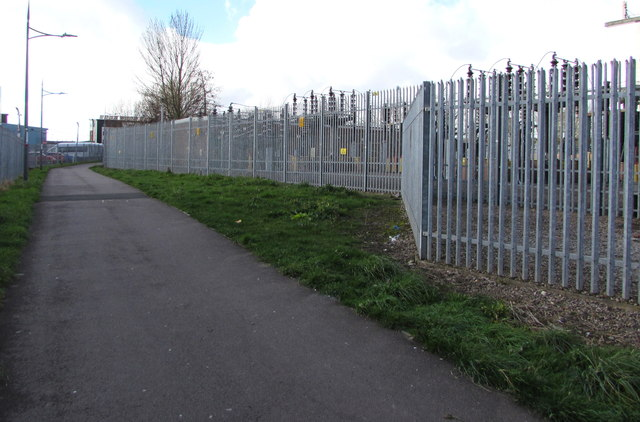 Path past Newport East Grid electricity substation by Jaggery