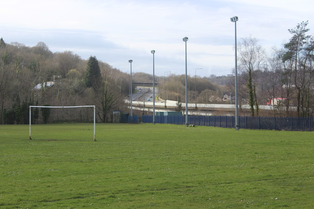 Football pitch by Celynen Viaduct