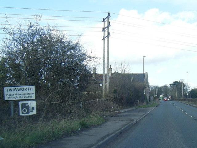 A38 at Twigworth village boundary