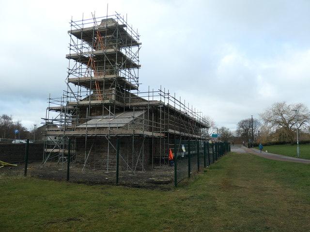Soho Shed, Shildon, under scaffolding