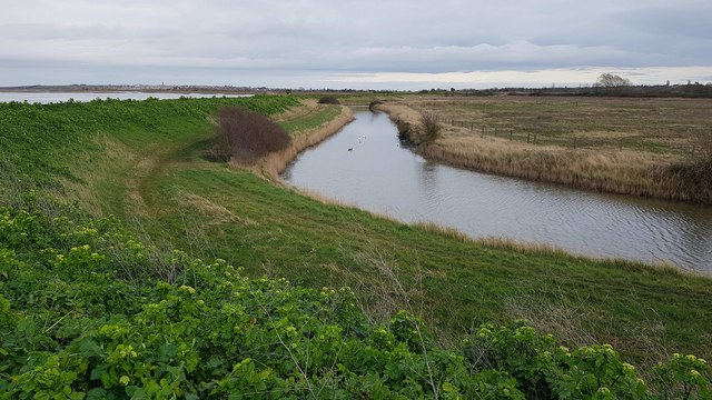 Kirby-le-Soken: Drain on landward side of sea defence embankment