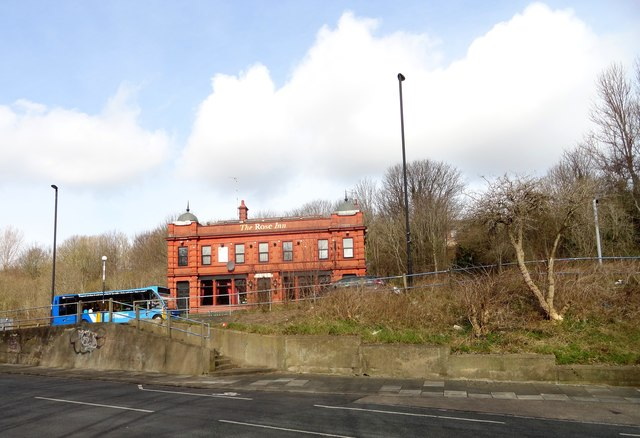 Bus passing the Rose Inn