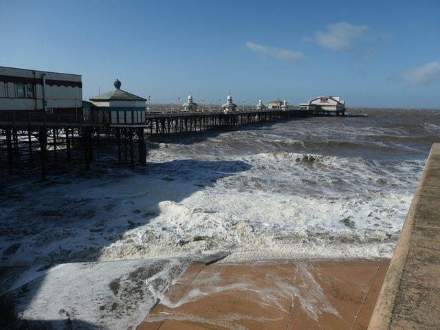 Rising tide and a rough sea, North Pier, Blackpool