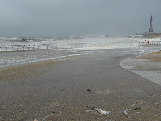 An hour after high tide, Central Beach, Blackpool