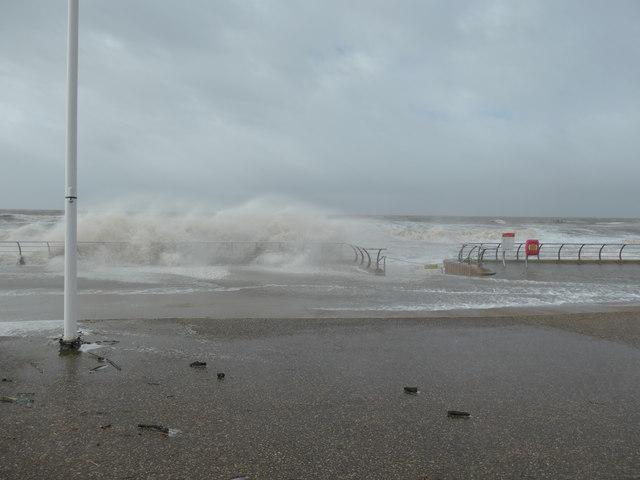 Wave breaking on the sea wall, Blackpool